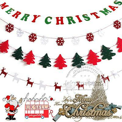 Merry Christmas Pennant Hanging Flags Banner Bunting Party Wall Decoration DIY