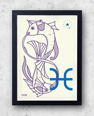 PISCES Print! Signs of the Zodiac, Astrology, Constellation, Water, Aphrodite, B