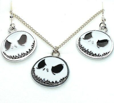 Nightmare Before Christmas Jack Skellington Necklace & Hook Earrings In Gift Box