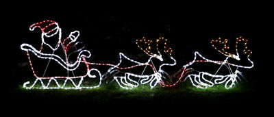 Outdoor Waving Santa With Reindeer And Sleigh Rope Light Silhouette