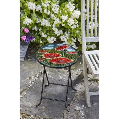 Poppy Design Folding Glass Table Hand Painted Weather Resistant Garden Outdoor