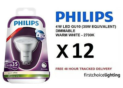 12 x Philips 4W (35W) Low Energy DIMMABLE GU10 LED Spot Lamps Bulbs Warm White