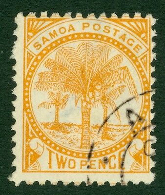 SG 29 Samoa 2d yellow perf 12 x11½. Very fine used part CDS CAT £140
