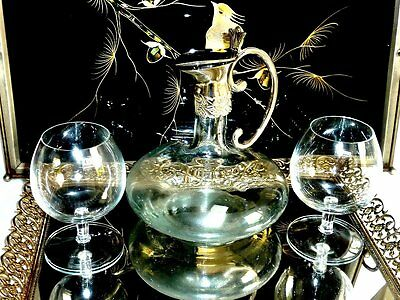 Beautiful Hand Crafted Glass & Silver  Ship Decanter  & 2 Glasses.