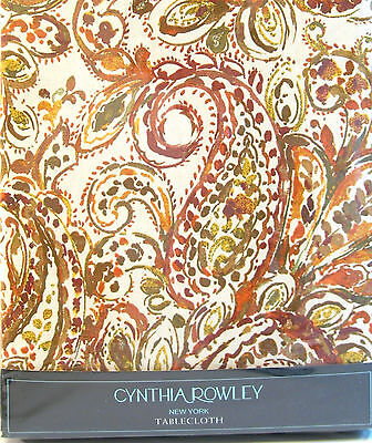 Cynthia Rowley Cotton Tablecloth Paisley Rusts Fatigue Green 70 Round  - NEW