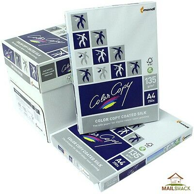 Color Copy SILK A4 White Paper 135gsm Photo Print 1 2 3 4 5 Reams Of 250 Sheets