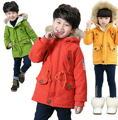 Kids Boys Girls Winter Fur Collar Hooded Coat USA Flag Thick Cotton Parka Jacket
