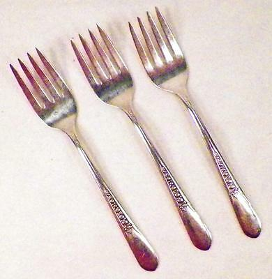 3 Priscilla Silverplate Salad Forks Rogers International 1941 Lady Ann Fork Nice