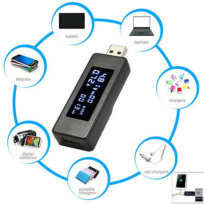 LCD USB Charger Capacity Current Voltage Tester Meter per phone power bank TE393