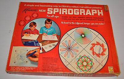 - vintage SPIROGRAPH Playset #401 vintage TOY 1969 Red Tray, 21 reels -