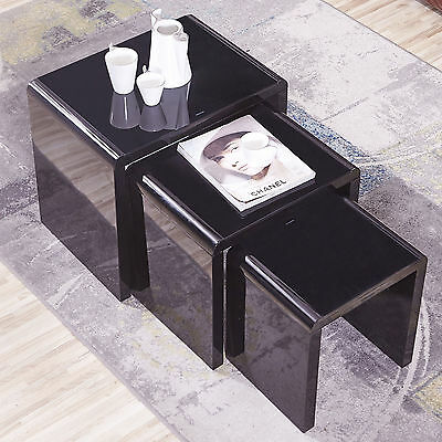 Design High Gloss Nest of 3 Coffee Table Black + Black Glass Living Room
