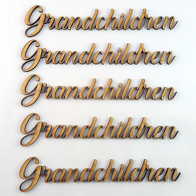 Grandchildren Word Cutout 5 pack MDF Laser Cut Wooden Craft Blank Family Tree