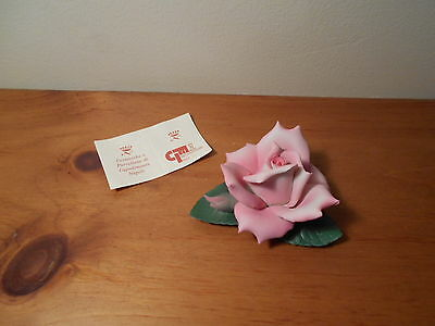 Capodmonte Porcelain Pink Rose Flower  Figurine  Made in Italy
