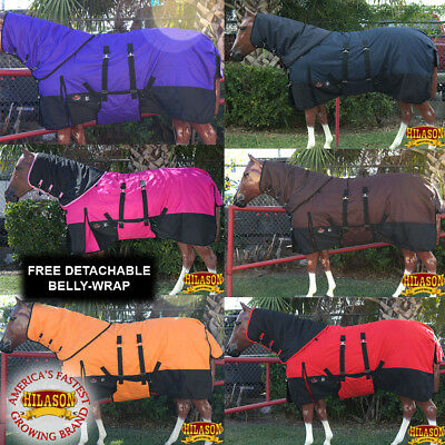 "66-84"" Hilason 1200D Waterproof Cold Winter Horse Blankets Neck Cover Belly Wrap"