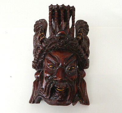 "10.5"" Vintage Asian Chinese Emperor & Dragons Hand Carved Wood Mask Rosewood"