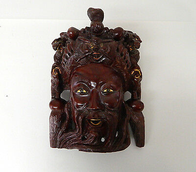 """10.5"""" Vintage Asian Chinese Emperor & Dragons Hand Carved Wood Mask Rosewood #2"""