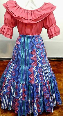2 Piece Fushcia And Print Square Dance Prairie Outfit
