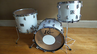 Vintage 1970's Rogers White XP8 3 Piece Drum Kit Set