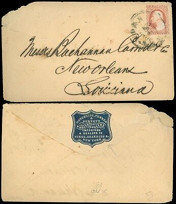 1850's NY, CAMEO Backflap HOTCHKISS et al.. Import Dealer WINES, BRANDIES, #11A!