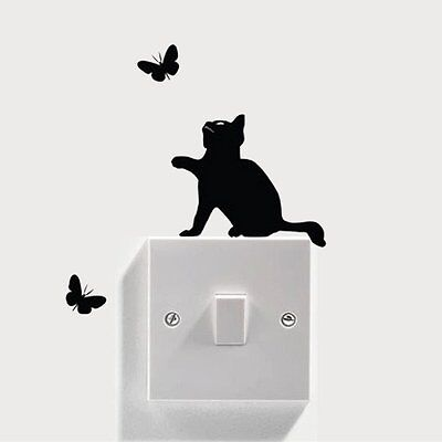 New DIY Cat Light Switch Decal Vinyl Wall Stickers Home Wall Decals Switch Decor