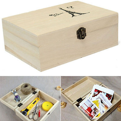 Plain Unpainted Wooden Tool Storage Box Memory Small Chest Craft Box Novelty
