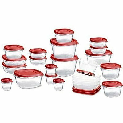 New Easy Find Lids Food Storage Container, 42-piece Set, Red- Graduated sized