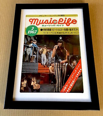 1967 Sonny & Cher photo vintage JAPAN music life magazine cover page FRAMED