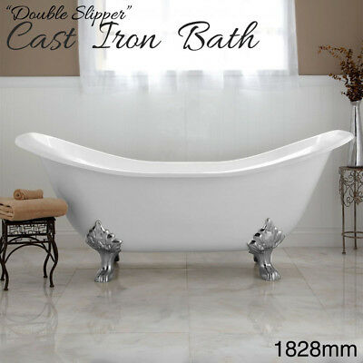 Cast Iron CLAW FOOT Bath Double Slipper Free Standing Bathtub Bathroom - WHITE