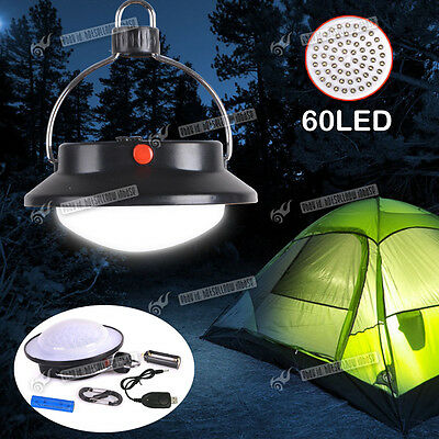 Rechargeable 60 LED Portable Camping Lantern Night Light Tent Lamp USB Charger