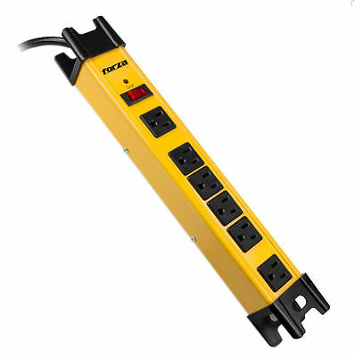 Forza Surge Protector Power Strip Breaker 110-220V 6 Outlets Metal, Heavy - duty