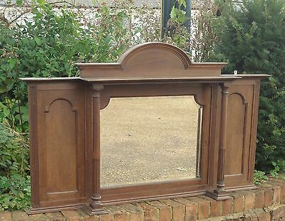 Lovely Antique Oak Over Mantle Mirror With Bevelled Glass And Pillars