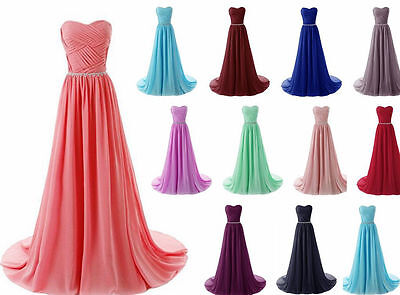 Long Chiffon Bridesmaid Prom Dresses Party Evening Formal Gown Stock Size 6-18