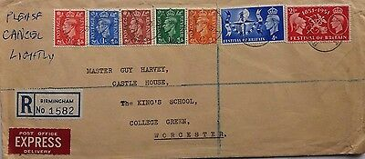 Great Britain 1951 Birmingham Express Cover With Festival Stamps First Day