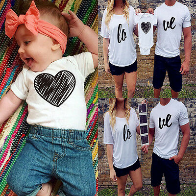 Couple T-Shirt Mommy Daddy Baby Love Matching Shirts Family Clothes Tee Tops