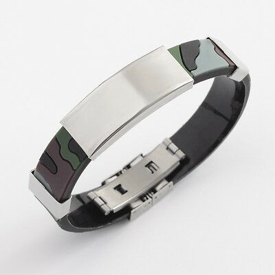 Mens Boys Camouflage Pattern Rubber and Stainless Steel ID Bracelet Brand New