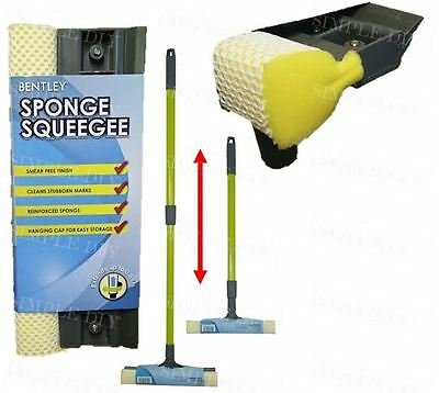 Telescopic Window Cleaning Squeegee Blade Extendable Pole Wash Sponge Cleaner