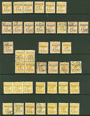 Samoa 1895-90 1½d on 2d surcharged. Mint & used x36. Good range of shades