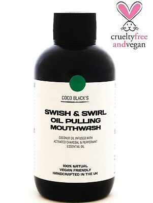 Coconut Oil Pulling Mouthwash with Medicinal Activated Charcoal & Peppermint Oil