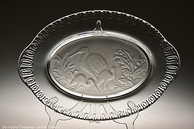 c. 1881 FROSTED STORK / CRANE #2 w/101 BORDER by Iowa City CRYSTAL Bread Plate