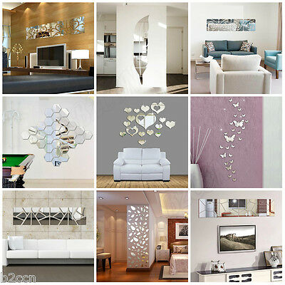 Removable 3D DIY Acrylic Mirror Art Wall Stickers Decal Mural Home Decor Silver