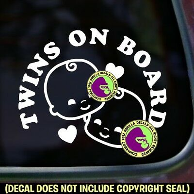TWINS ON BOARD Vinyl Decal Sticker Babies Multiples Car Van Sign
