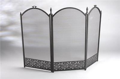 Inglenook 3 Panel Decorative Black Fire Screen Fire Guard FIRE07