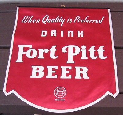 (Vintage) Fort Pitt Beer Advertising Sign (Red) Fort Pitt Brewing Pittsburgh Pa