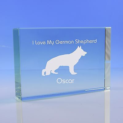 German Shepherd Dog Gift Personalised Engraved Glass Paperweight Ornament