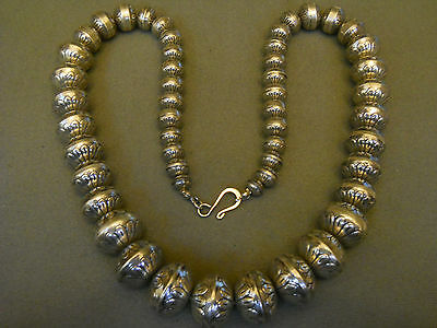 Sterling silver stamped bead necklace / Navajo pearls 122grams   24""