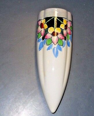 Vintage Japan White Wall Pocket Ceramic Pottery Cone Shaped Flowers Design