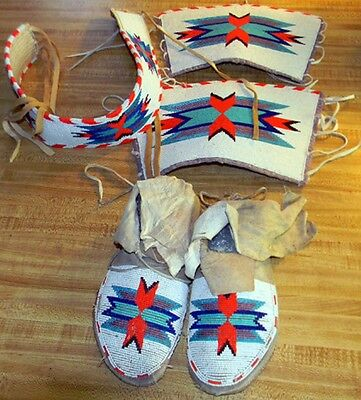 Vintage Antique Crow Native American Indian Beaded Moccasins and Dance Regalia