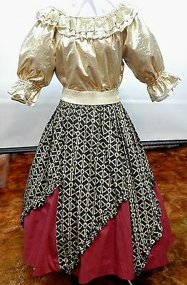 2 Piece Gold And Black Square Dance Prairie Outfit