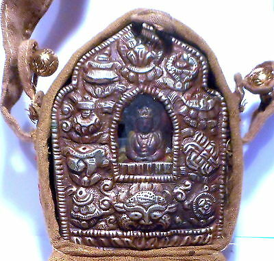 Tibetan Medicine Buddha Gau Ghau Prayer Box Shrine in Cloth Case w Strap #6