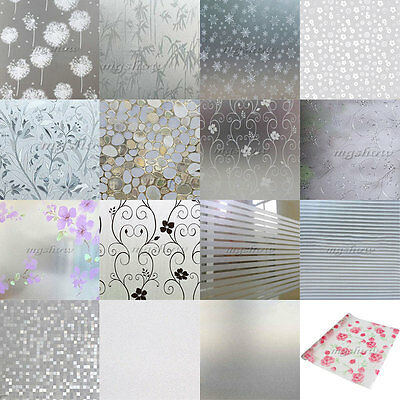 White Waterproof Frosted Window Film Frost Etched Glass Sticky Plastic 1M 2M